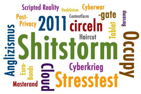 Wörterwolke Anglizismus des Jahres 2011
