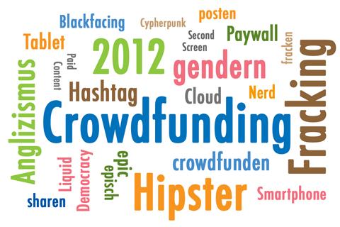 Wörterwolke Anglizismus des Jahres 2012